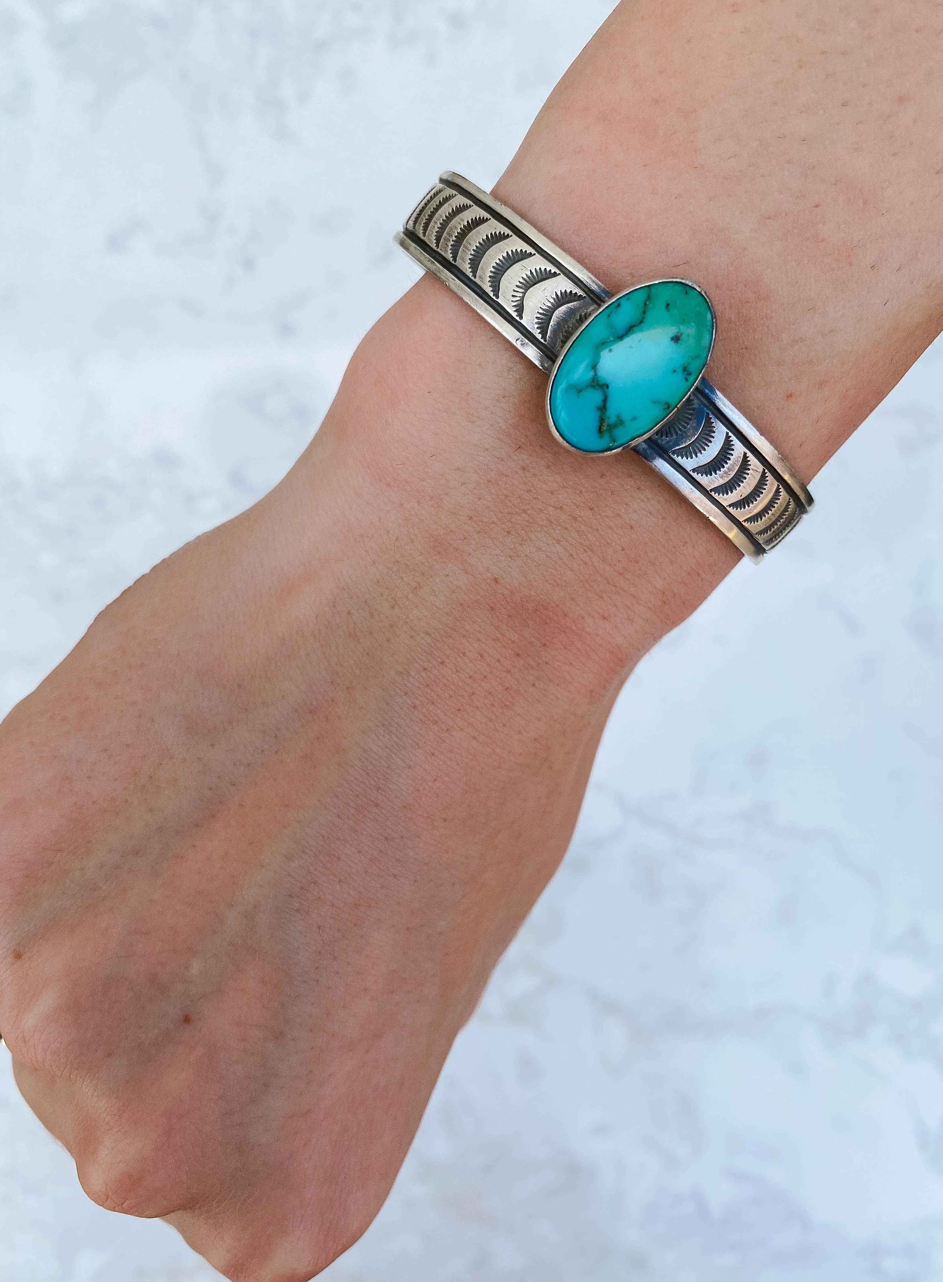 Stamped Turquoise Stone Cuff , #2