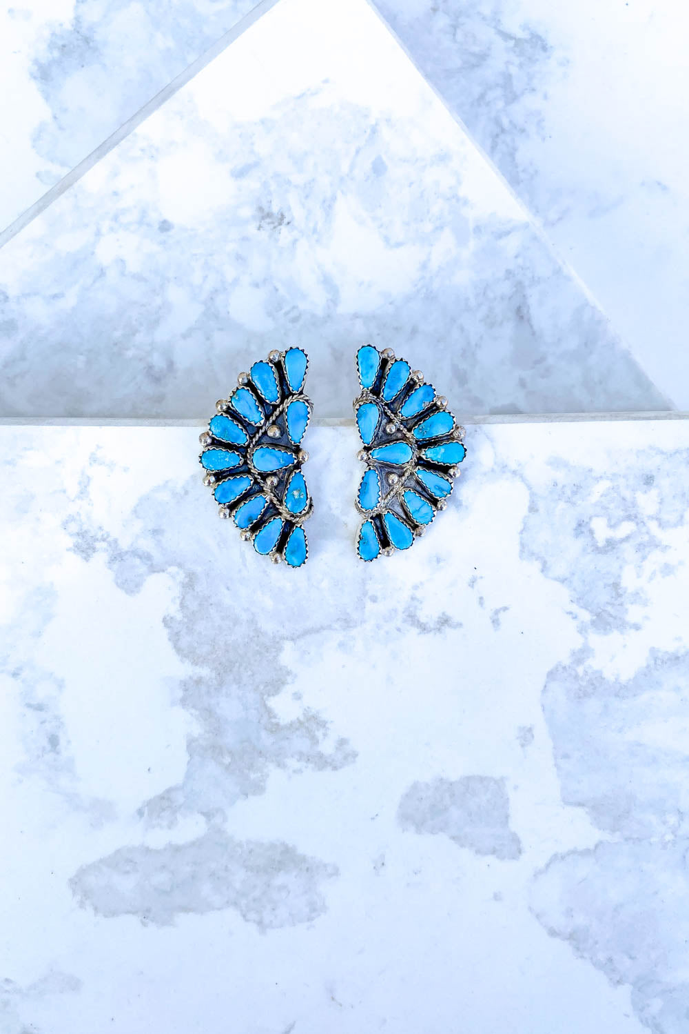 Turquoise 12 Stone Crescent Earrings