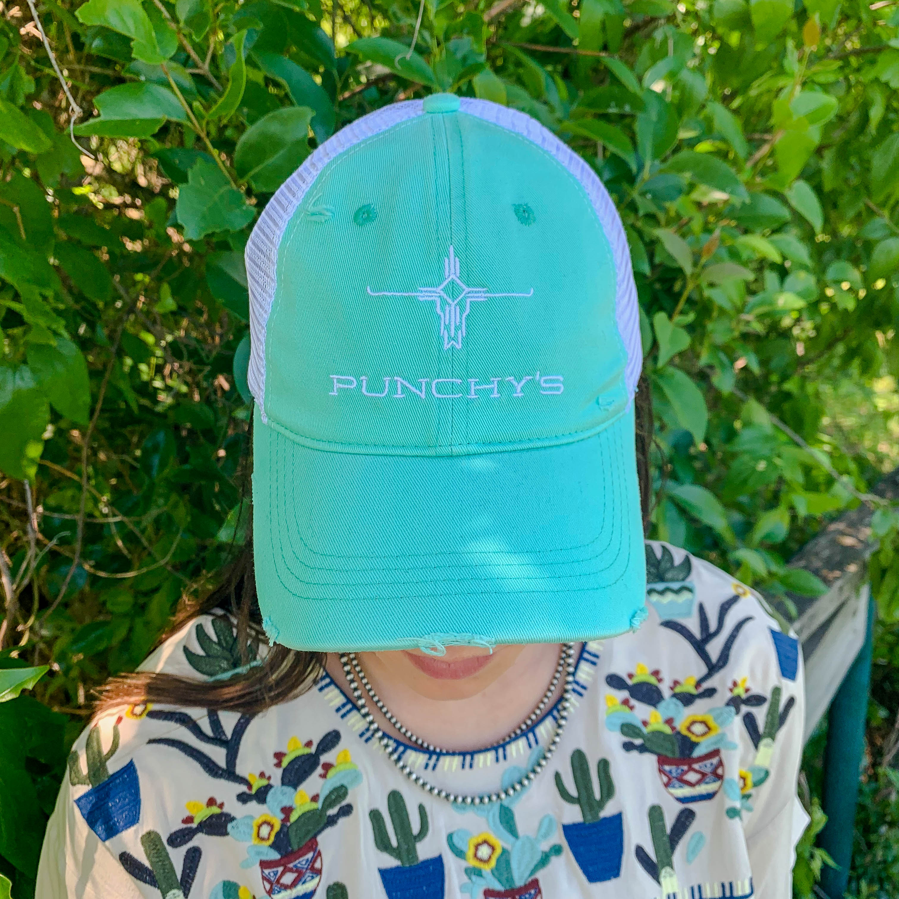 Turquoise Distressed Punchy's Logo Hat