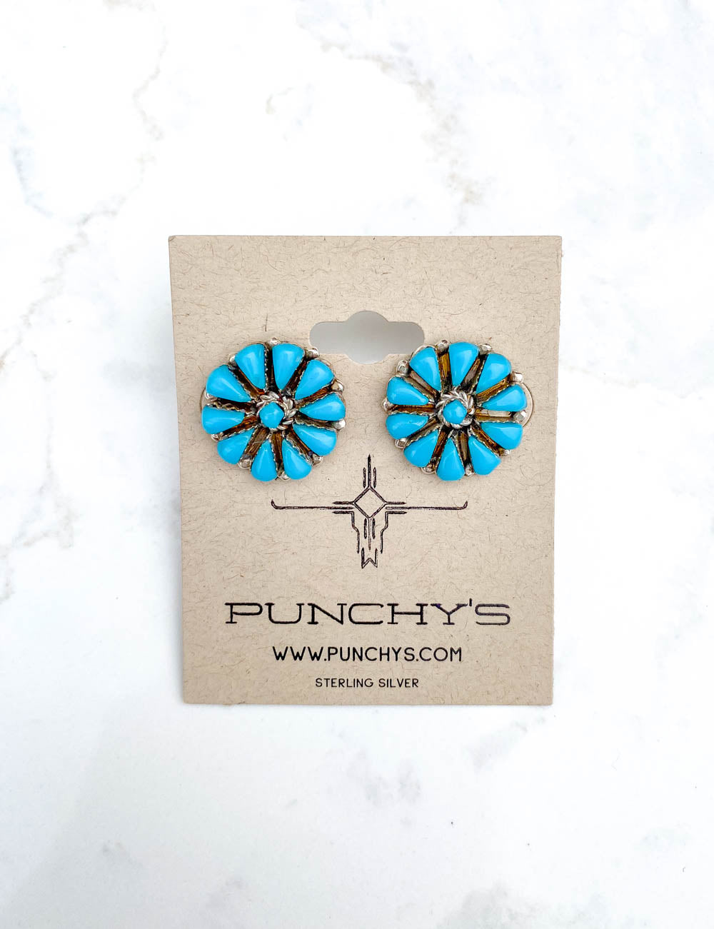 Turquoise Needlepoint Flower Earring