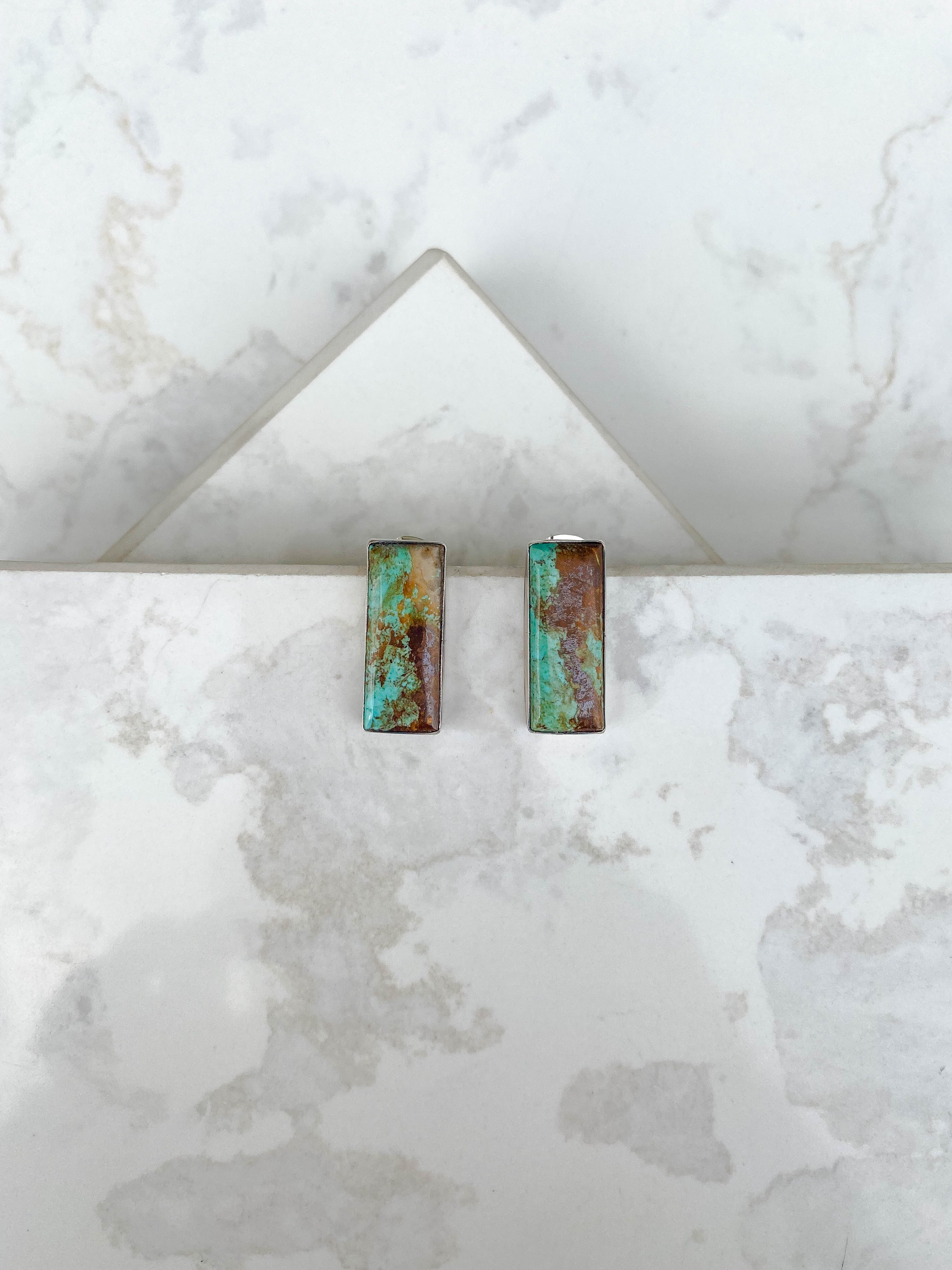 Turquoise Rectangle Statement Stud