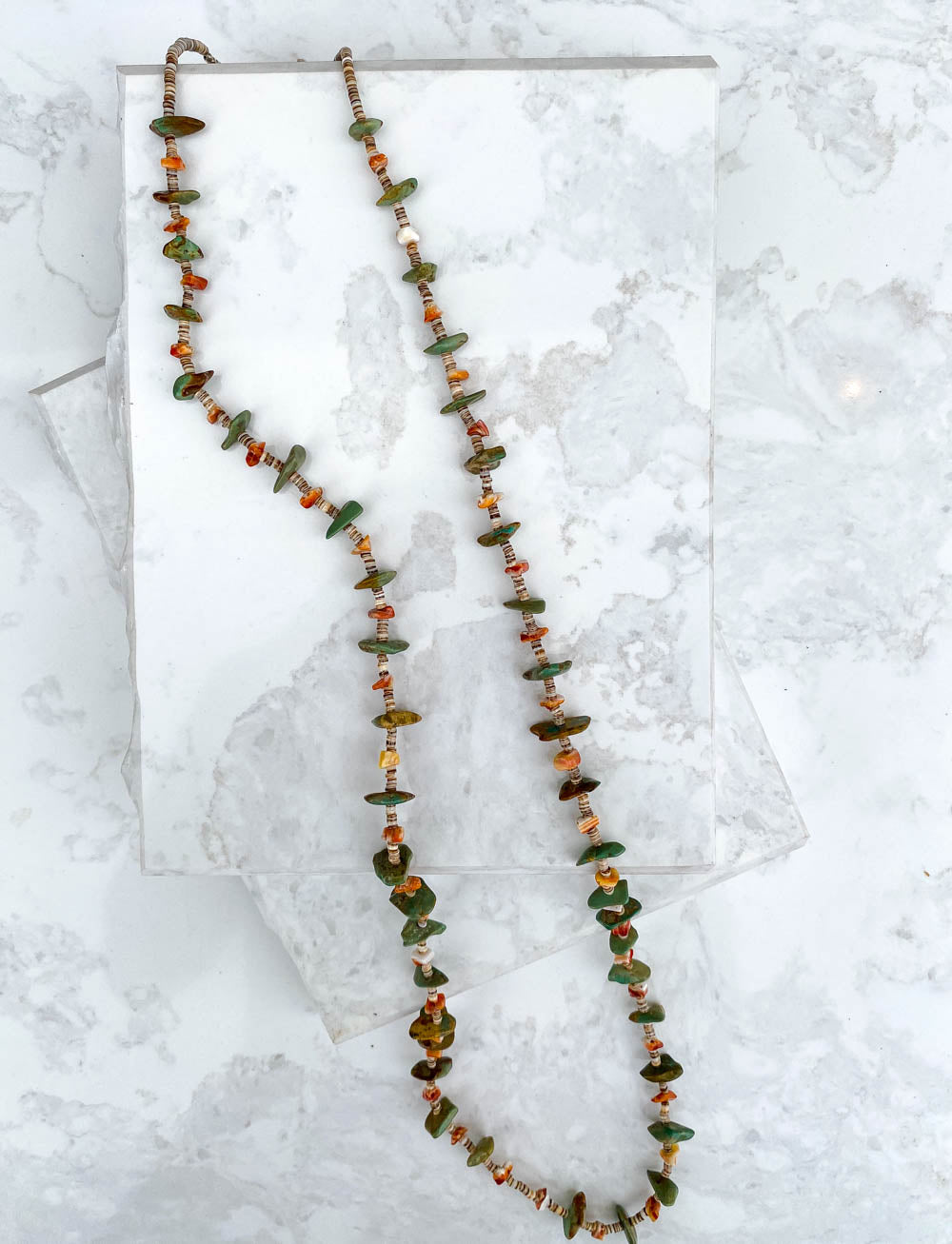 Green Turquoise Spiney and Heishe Long Necklace Available Lengths: 40in & 41in
