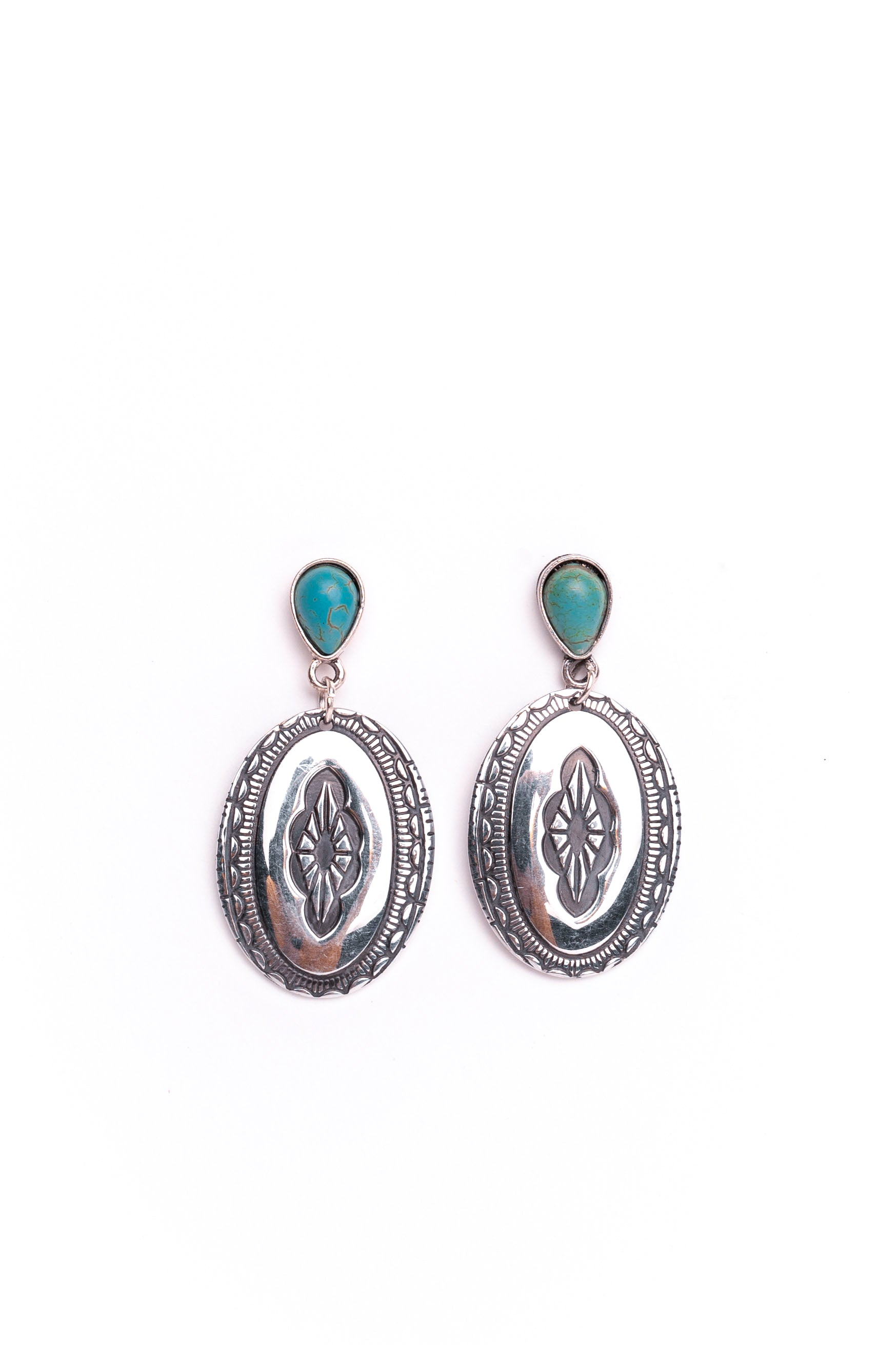 Oval Concho Earrings With Turquoise Post