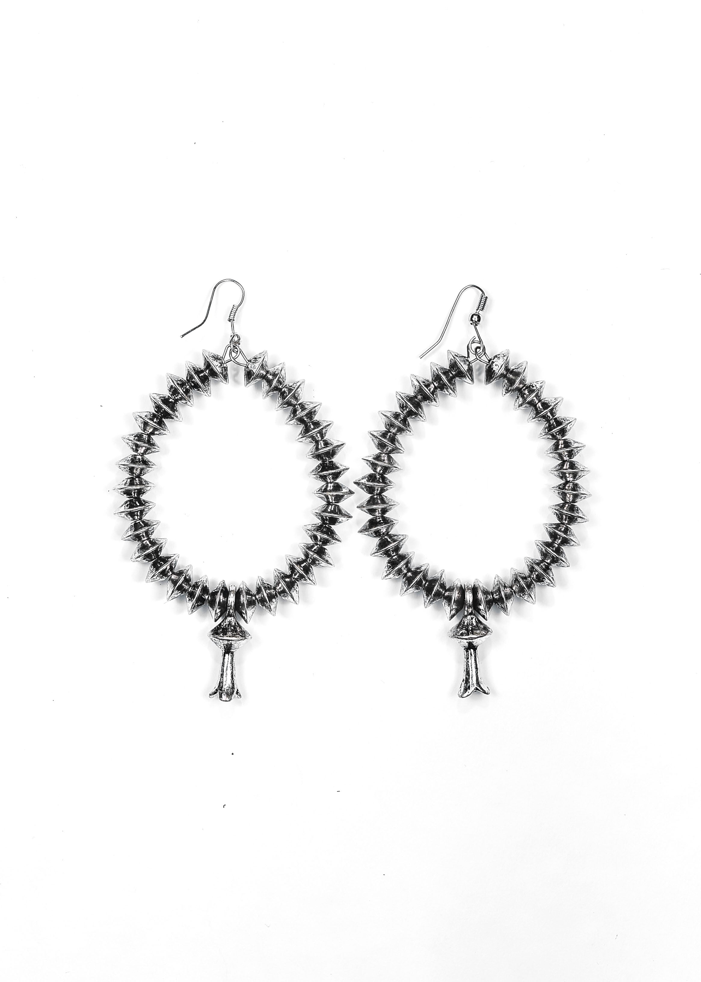 3.5in Silver Disc Beaded Earring with Blossom Accent