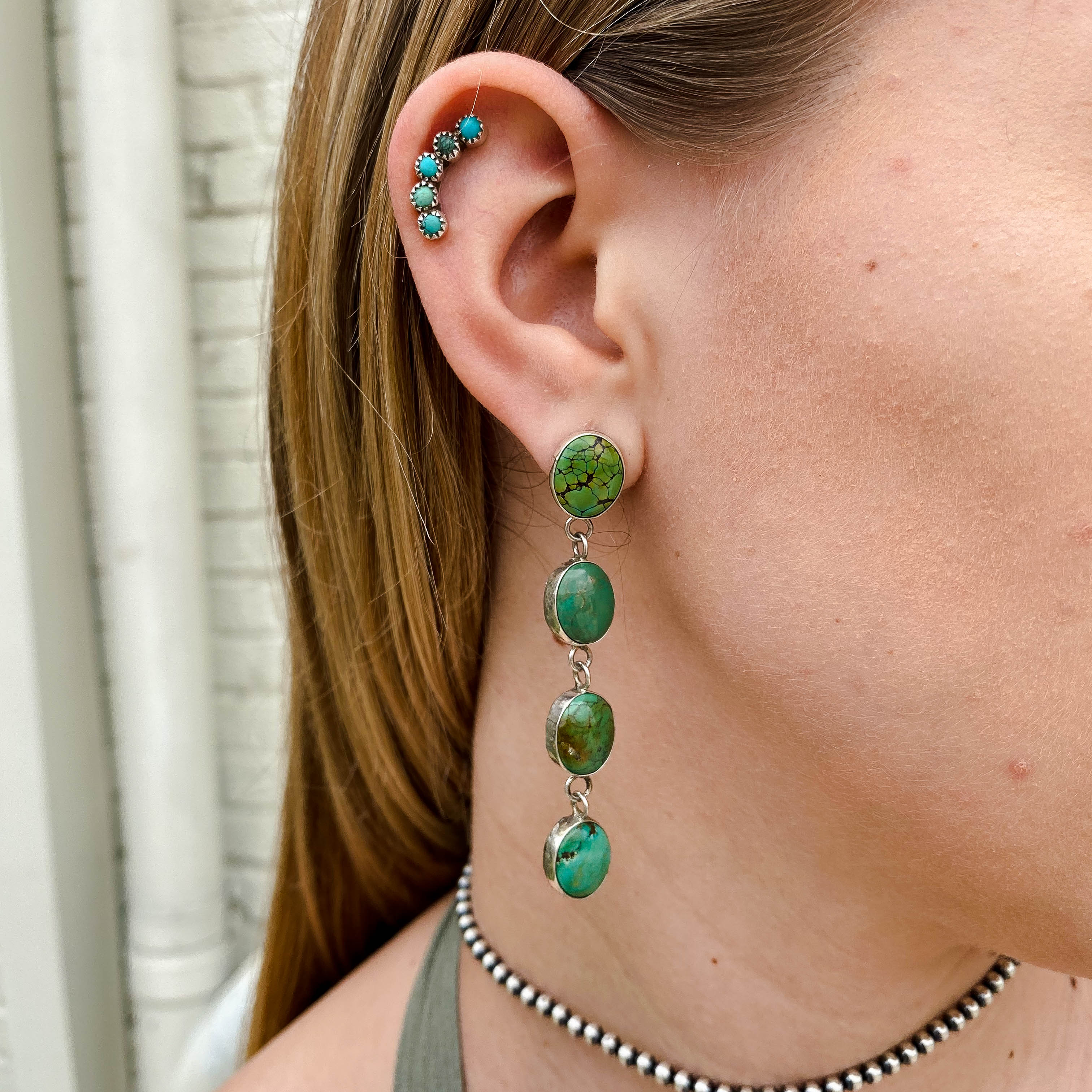 Petite Green Turquoise Linear Earring