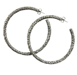 "2.5"" SILVER PAVIA HOOP WITH CRYSTALS"