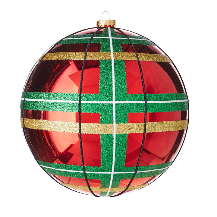 "8"" GLITTERED PLAID BALL ORNAMENT"
