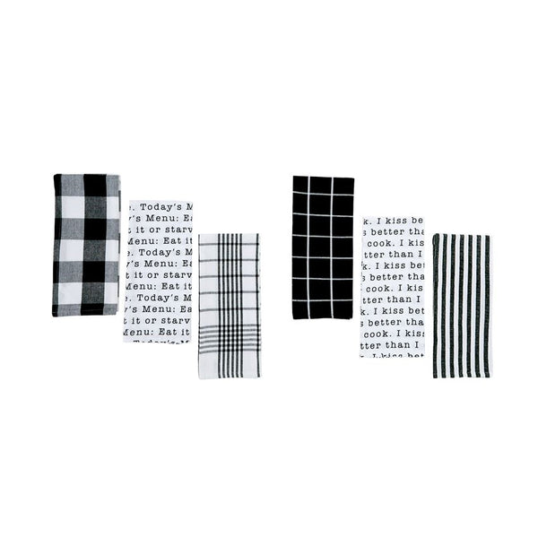 BLACK & WHITE DISH TOWEL SETS