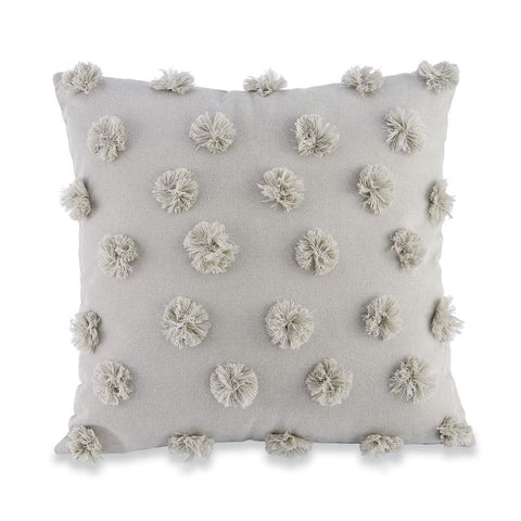 GREY SQUARE POM-POM PILLOW