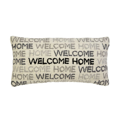 WELCOME HOME WOVEN HOOKED LUMBAR PILLOW