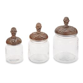 PINE CONE GLASS CANISTER SET