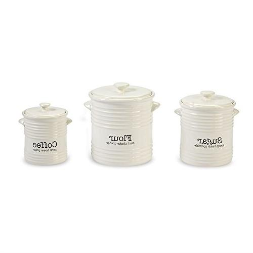 Ribbed Canister Set of 3, White