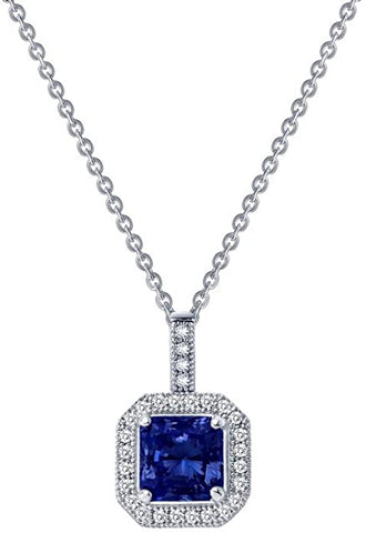 Classic Sterling Silver Platinum Plated Lassire Sapphire Necklace