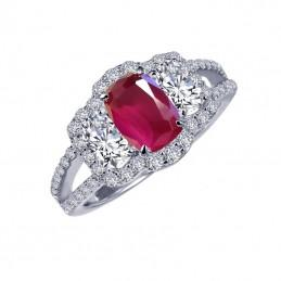 Ruby Ring in Sterling Silver Bonded with Platinum