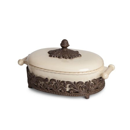 Covered Casserole With Acanthus Leaf Metal Base