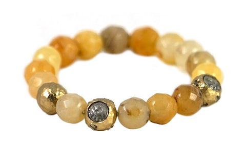 GOLD CERA YELLOW JADE STRETCH BRACELET