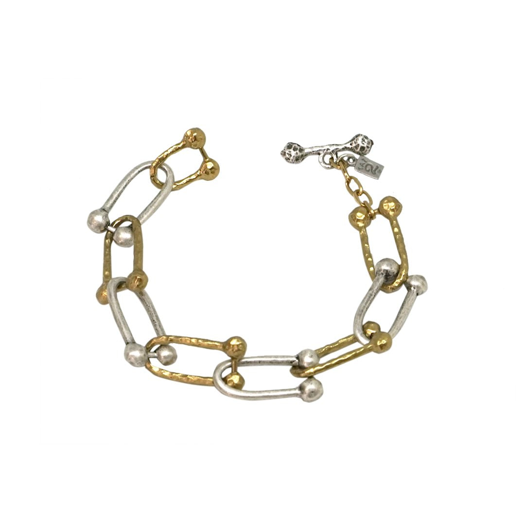 TWO TONE HORSESHOE LINK BRACELET