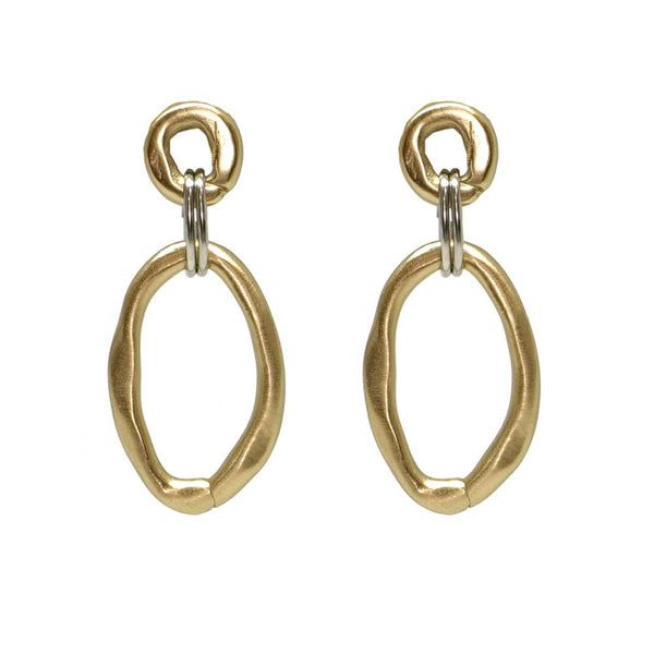 GOLD LARGE AND SMALL LINK CONNECTOR EARRING