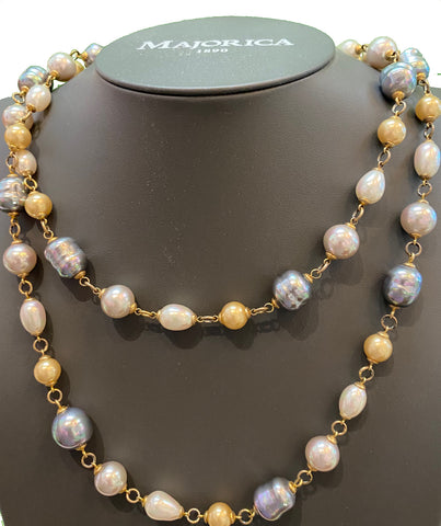 Adjustable Long Multi-Color Pearl Necklace