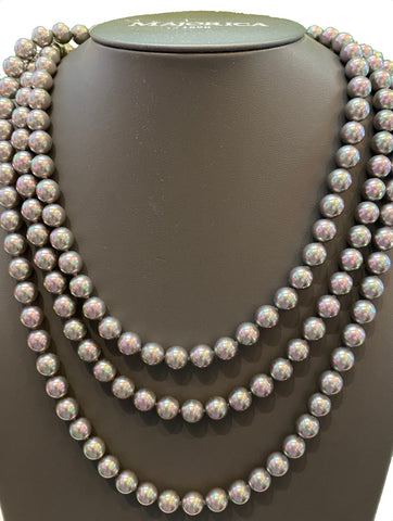 Long Adjustable Dark Pearl Necklace
