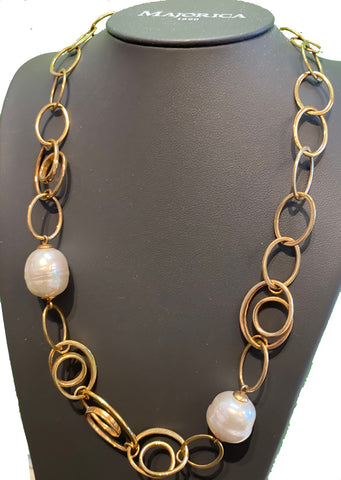 Gold Swirly Pearl Necklace