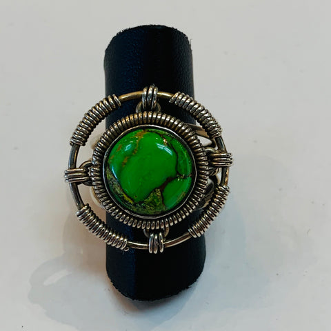 Wire Wrap Green Cooper Turquoise Ring #52