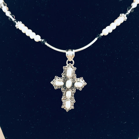 Pearl Cross Necklace #2