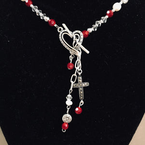 Red/Pearl Marcasite Cross Necklace #3