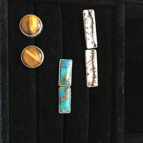 Blue Copper Turquoise Cufflinks #19