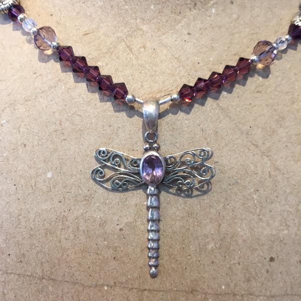 Amethyst Dragonfly Necklace #21