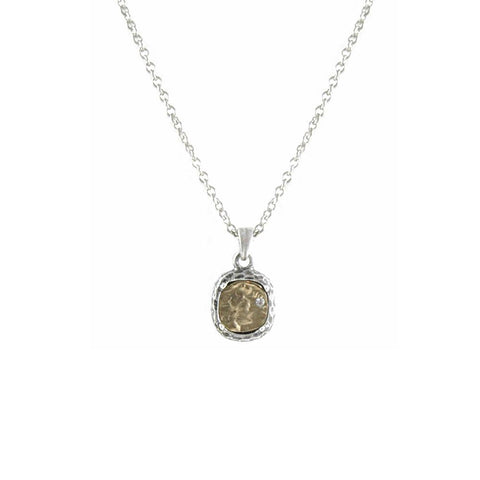 VINTAGE SILVER PAVIA COIN & FRAME NECKLACE