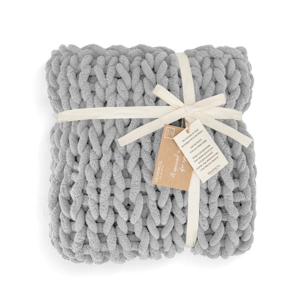Chunky Knitted Blanket- Gray - Comfort Accessory