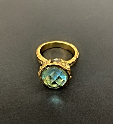 Gold Blue Topaz High Top Ring