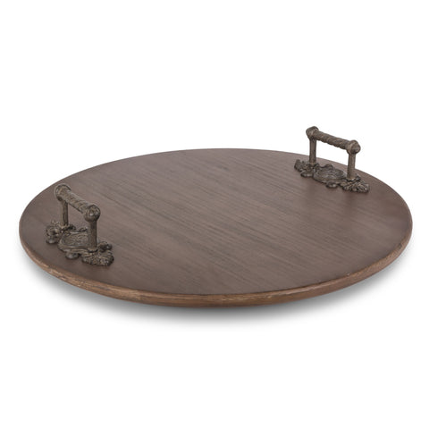 Acanthus Leaf Wood Lazy Susan