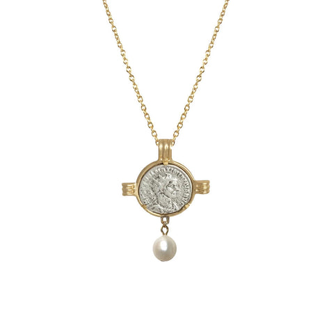 GOLD MAXIMIANUS COIN & FRAME PEARL NECKLACE