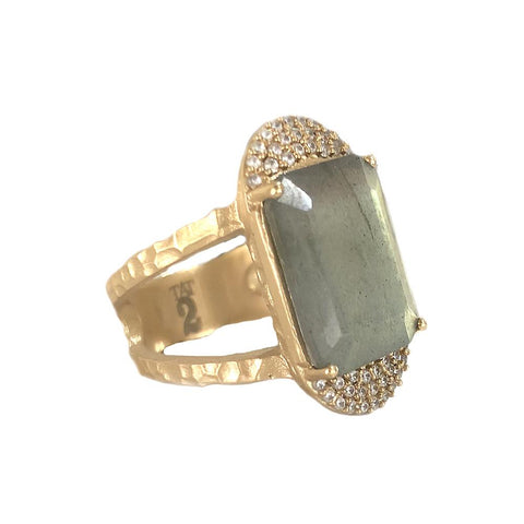 GOLD KOSOR EMERALD CUT LABRADORITE & CRYSTAL COCKTAIL RING