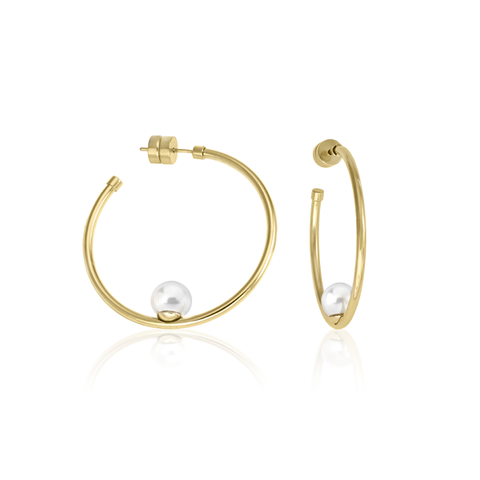 GOLD PLATED STEEL ROUND WHITE PEARL HOOP EARRINGS