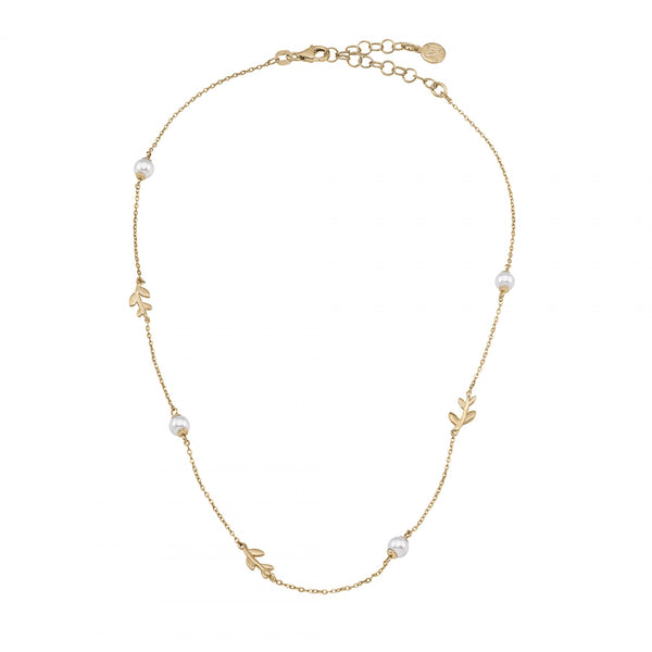 LONG GOLD PLATED PEARLS LEAF NECKLACE