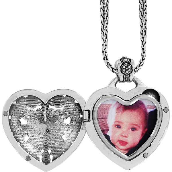 Floral Heart Locket Necklace