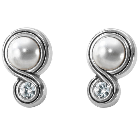 Infinity Sparkle Post Earrings - Pearl