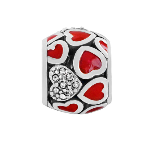 Abounding Hearts Bead-Red