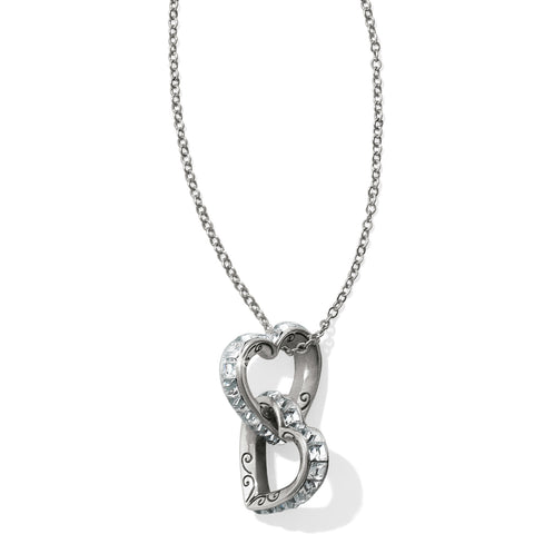 Spectrum Hearts Long Necklace - Silver