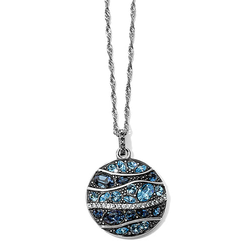 Trust Your Journey Wave Pendant Necklace Silver-Blue