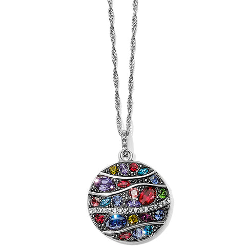 Trust Your Journey Wave Pendant Necklace Silver-Multi