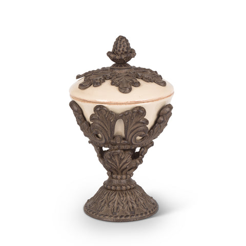 Nut Bowl with Metal Baroque Pedestal
