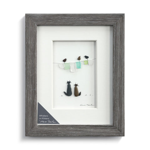 Whiskers on Kittens Wall Art Pebble Wood Frame