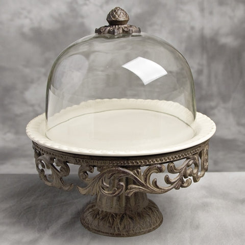Cake Pedestal w/Dome and Plate-Cream