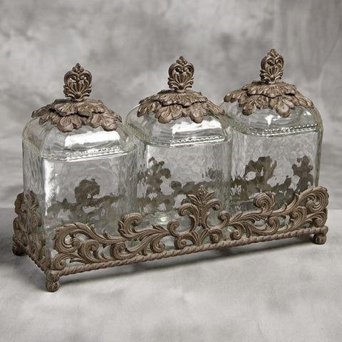 3 pc. Glass Canister Set w/Brown Metal Base