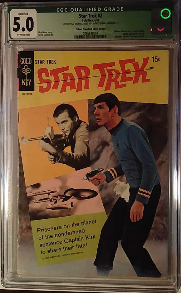 STAR TREK (1967) #2 BACK COVER VARIANT CGC 5.0 QUALIFIED