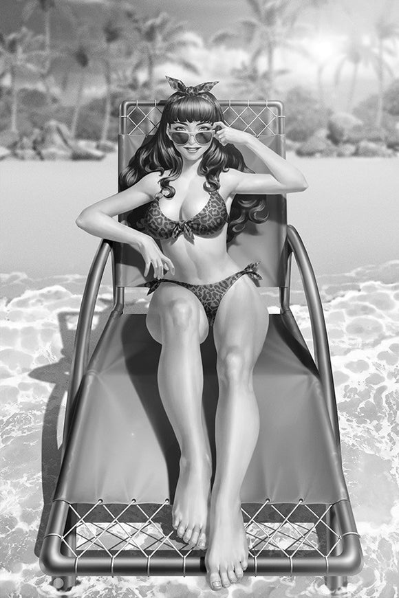 BETTIE PAGE #1 15 COPY YOON B&W VIRGIN FOC INCV